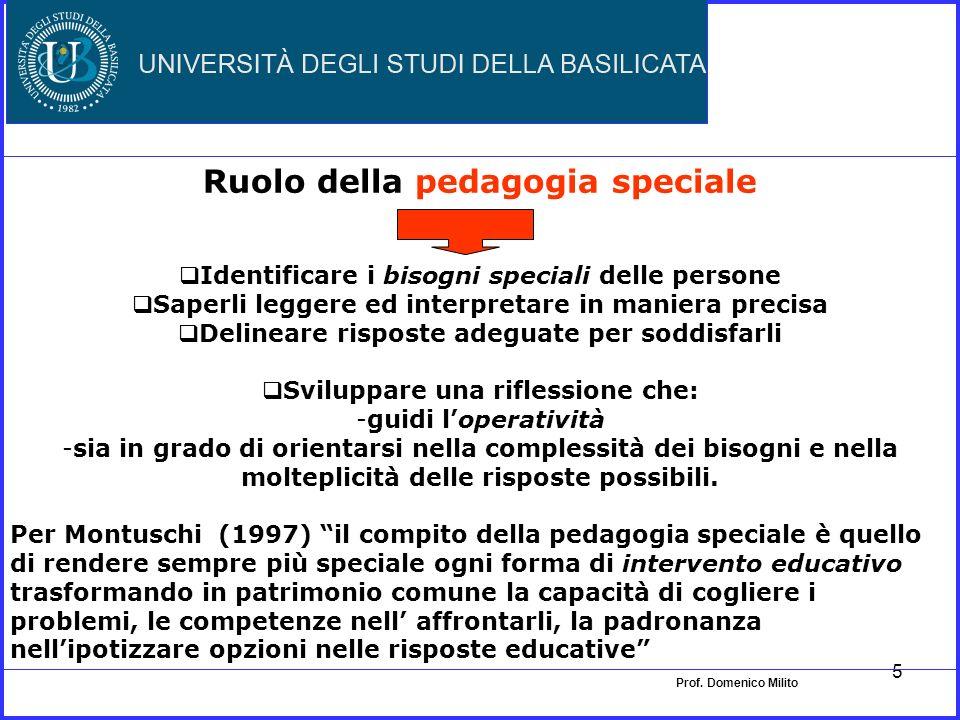 4 Pedagogia speciale Spesso è identificata con linsegnamento speciale per allievi con bisogni educativi particolari, con un restringimento considerevo