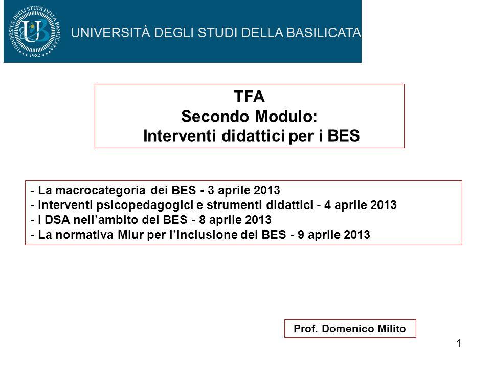 1 Prof. Domenico Milito TFA Secondo Modulo: Interventi didattici per i BES - La macrocategoria dei BES - 3 aprile 2013 - Interventi psicopedagogici e