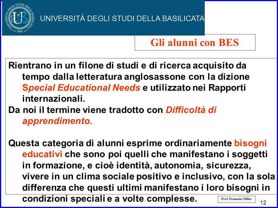 13 Prof. Domenico Milito Gli alunni con BES Rientrano in un filone di studi e di ricerca acquisito da tempo dalla letteratura anglosassone con la dizi