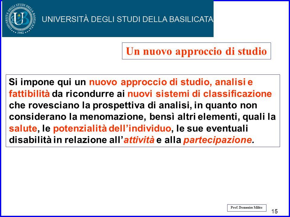 16 Prof. Domenico Milito Un nuovo approccio di studio Si impone qui un nuovo approccio di studio, analisi e fattibilità da ricondurre ai nuovi sistemi