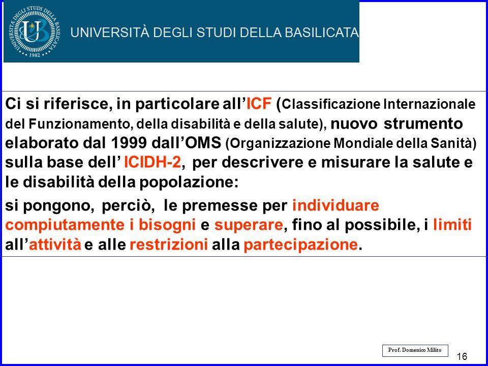 17 Prof. Domenico Milito Ci si riferisce, in particolare allICF ( Classificazione Internazionale del Funzionamento, della disabilità e della salute),