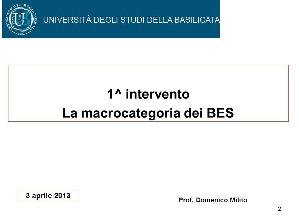 2 1^ intervento La macrocategoria dei BES Prof. Domenico Milito 3 aprile 2013