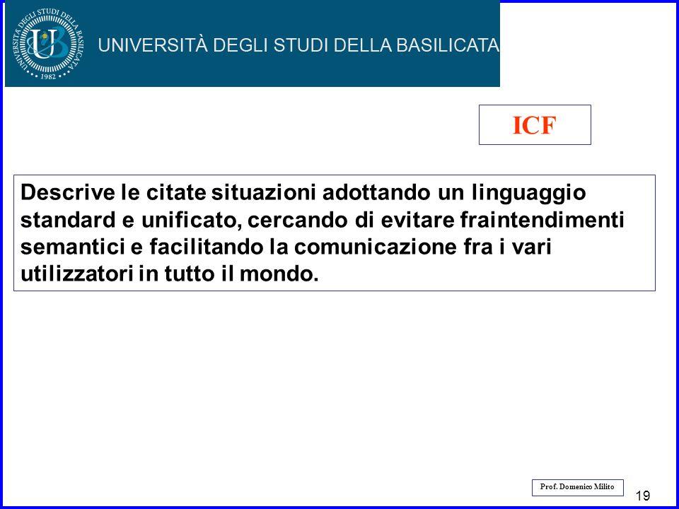 20 Prof. Domenico Milito Descrive le citate situazioni adottando un linguaggio standard e unificato, cercando di evitare fraintendimenti semantici e f