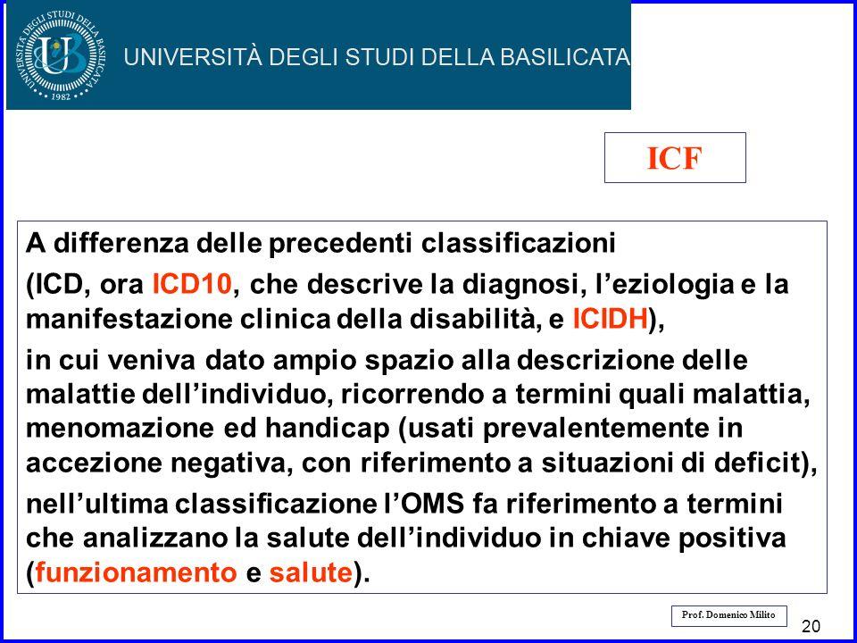 21 Prof. Domenico Milito A differenza delle precedenti classificazioni (ICD, ora ICD10, che descrive la diagnosi, leziologia e la manifestazione clini