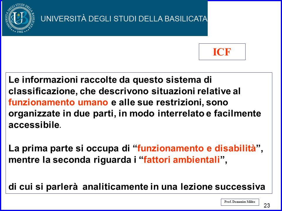 24 Prof. Domenico Milito Le informazioni raccolte da questo sistema di classificazione, che descrivono situazioni relative al funzionamento umano e al