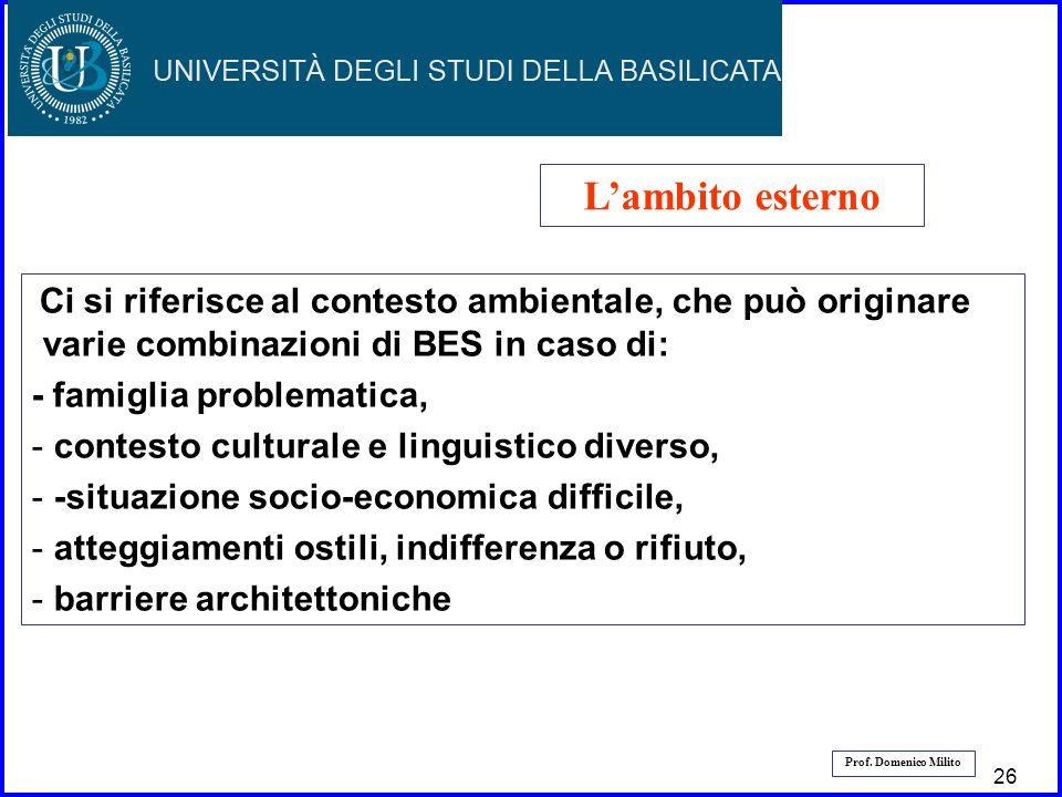 27 Prof. Domenico Milito Lambito esterno Ci si riferisce al contesto ambientale, che può originare varie combinazioni di BES in caso di: - famiglia pr