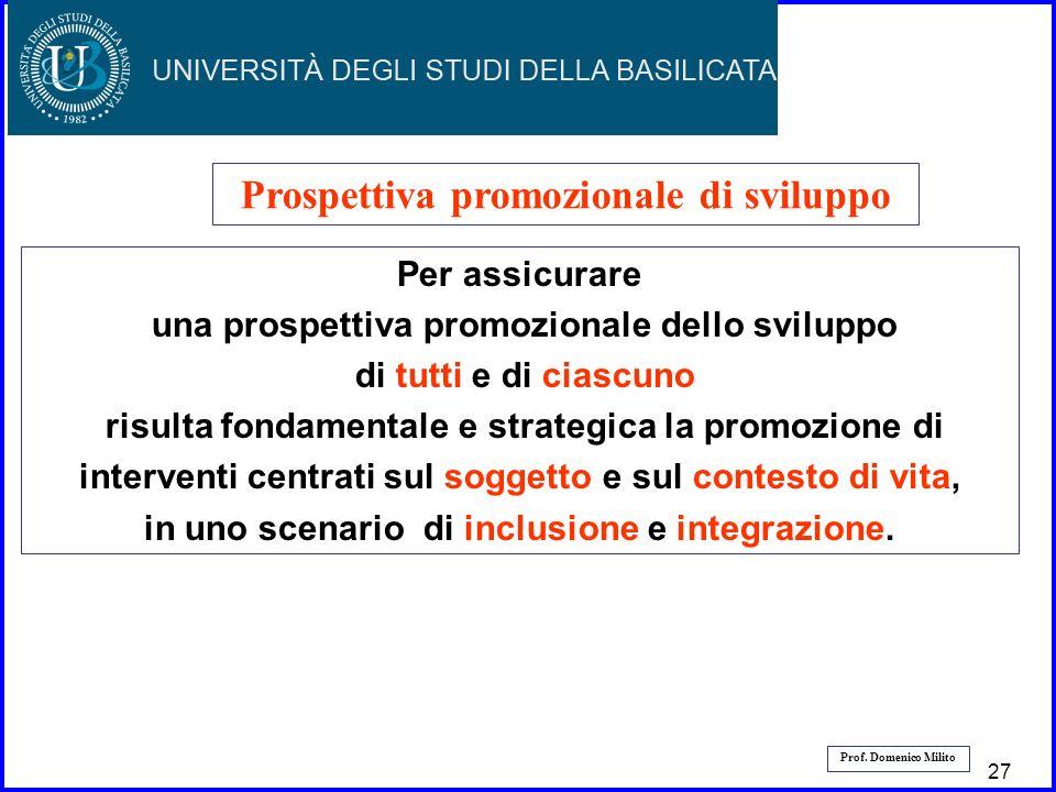 28 Prof. Domenico Milito Prospettiva promozionale di sviluppo Per assicurare una prospettiva promozionale dello sviluppo di tutti e di ciascuno risult
