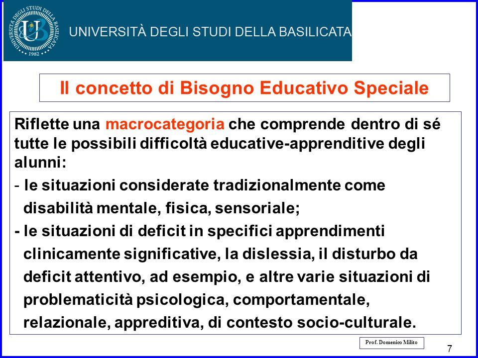 8 8 Il concetto di Bisogno Educativo Speciale Riflette una macrocategoria che comprende dentro di sé tutte le possibili difficoltà educative-apprendit