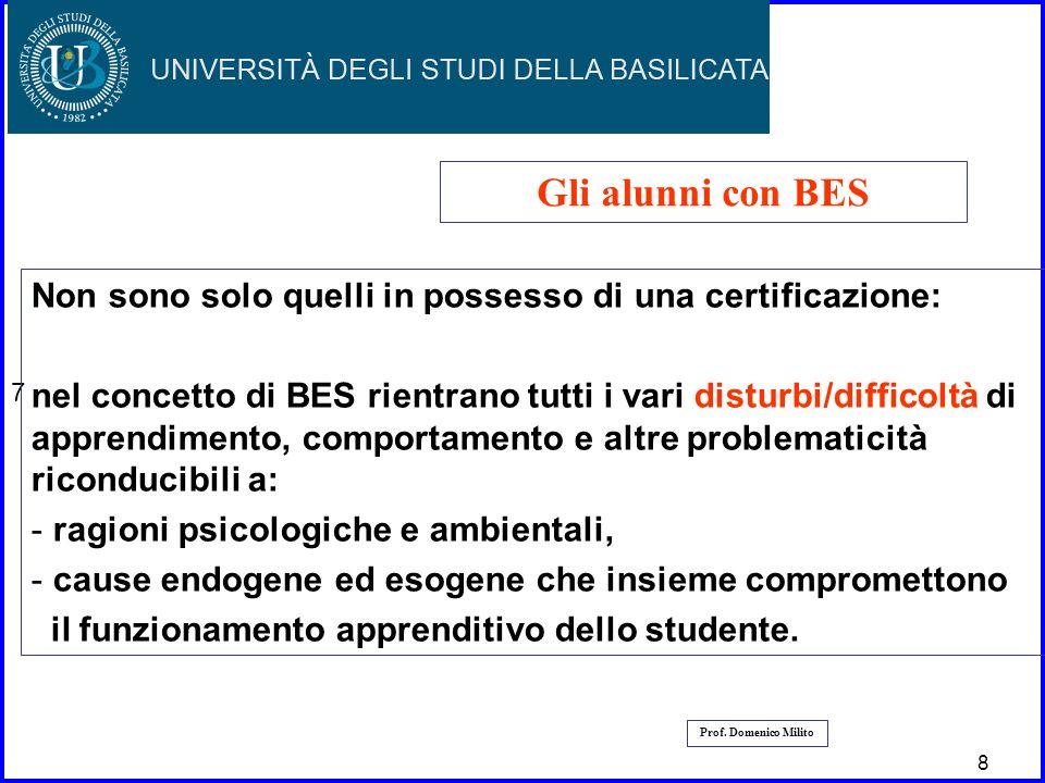 9 9 7 Prof. Domenico Milito Gli alunni con BES Non sono solo quelli in possesso di una certificazione: nel concetto di BES rientrano tutti i vari dist