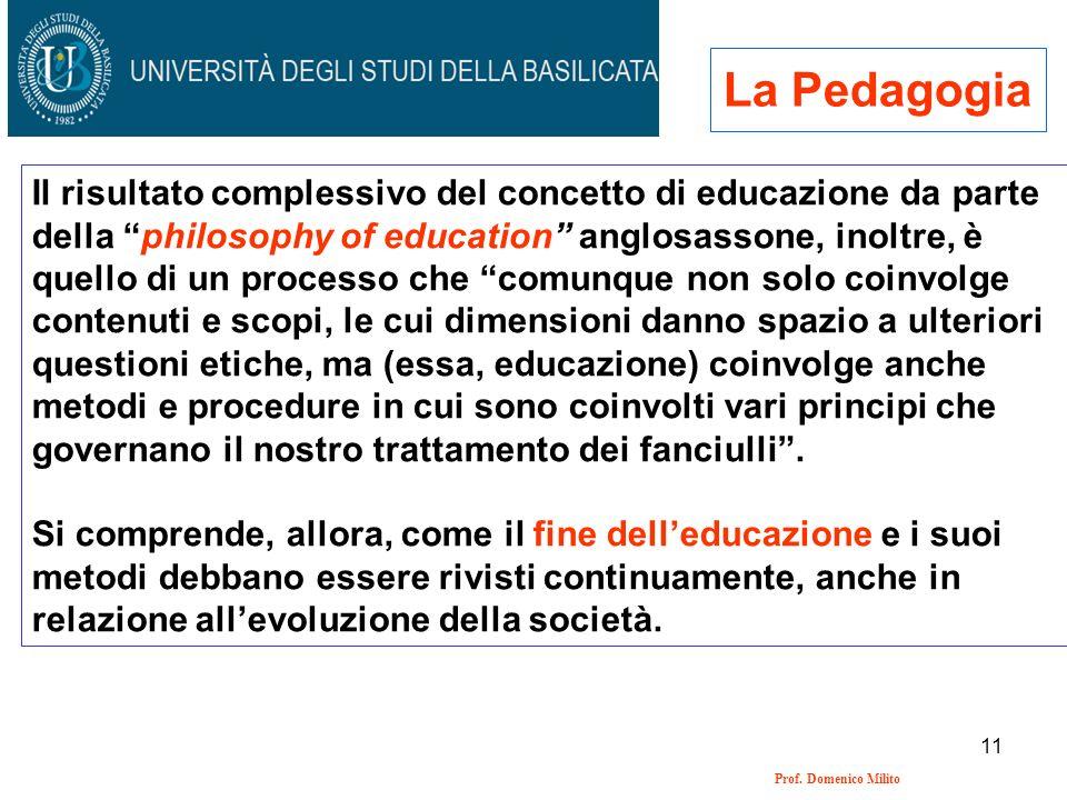 11 Prof. Domenico Milito La Pedagogia Il risultato complessivo del concetto di educazione da parte della philosophy of education anglosassone, inoltre