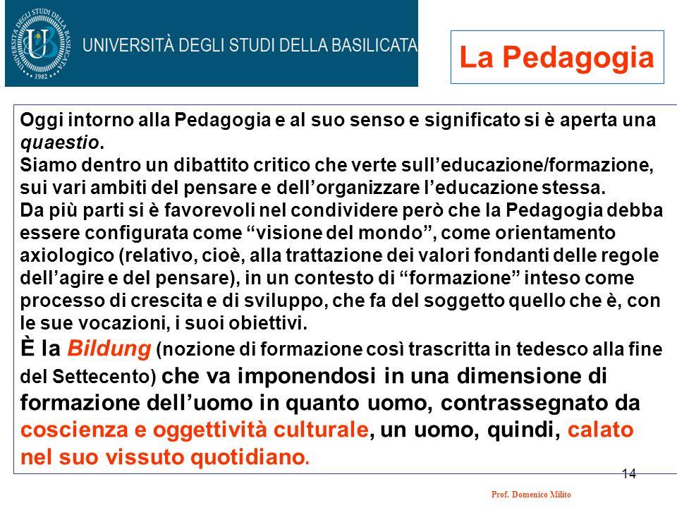 14 Prof. Domenico Milito La Pedagogia Oggi intorno alla Pedagogia e al suo senso e significato si è aperta una quaestio. Siamo dentro un dibattito cri