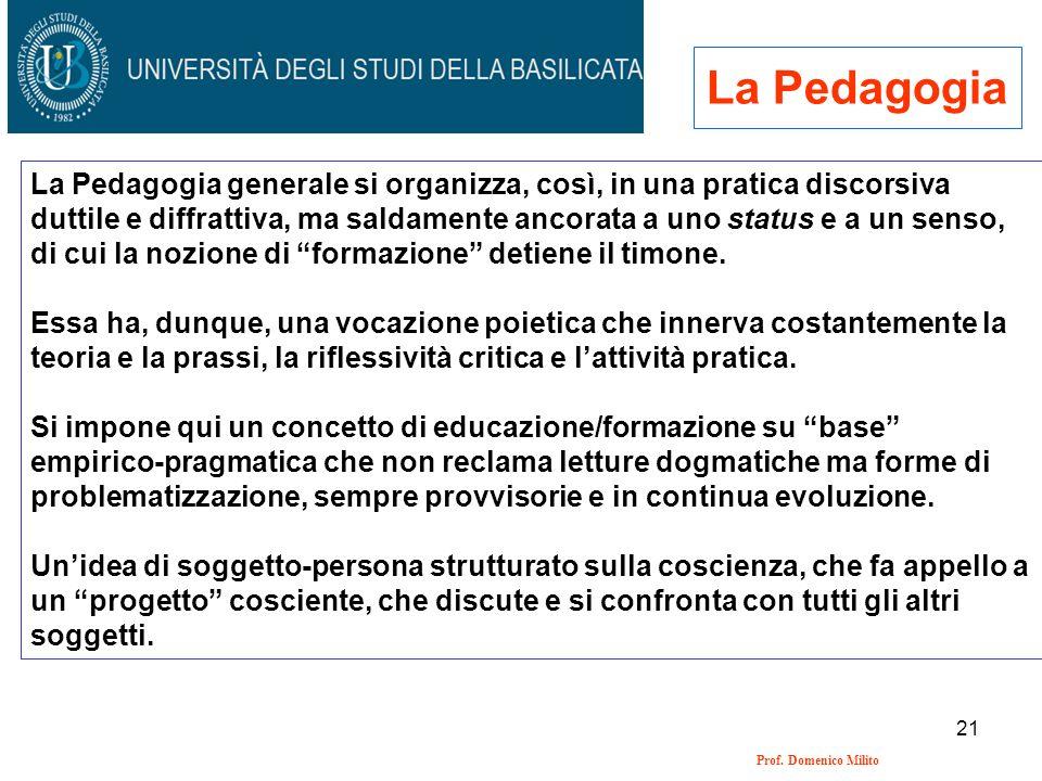 21 Prof. Domenico Milito La Pedagogia La Pedagogia generale si organizza, così, in una pratica discorsiva duttile e diffrattiva, ma saldamente ancorat