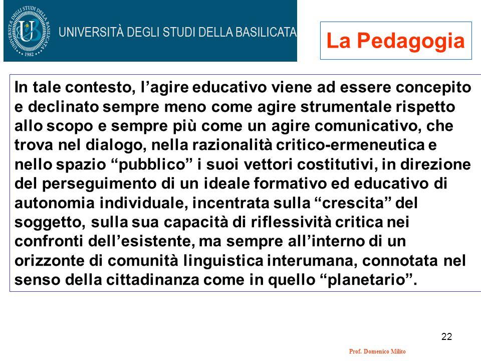 22 Prof. Domenico Milito La Pedagogia In tale contesto, lagire educativo viene ad essere concepito e declinato sempre meno come agire strumentale risp