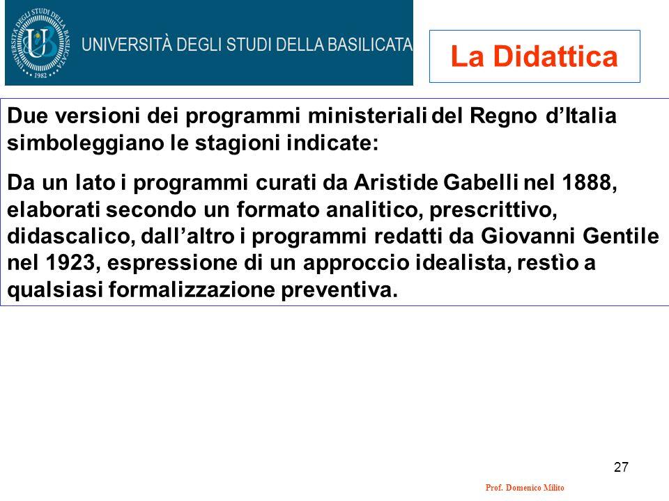 27 Prof. Domenico Milito La Didattica Due versioni dei programmi ministeriali del Regno dItalia simboleggiano le stagioni indicate: Da un lato i progr