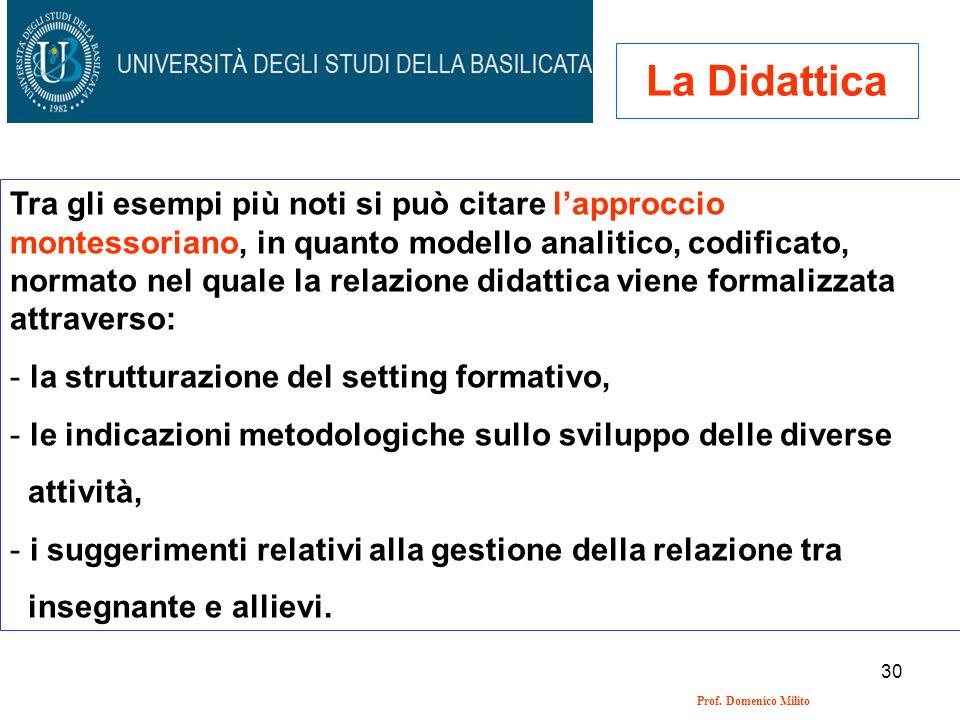 30 Prof. Domenico Milito La Didattica Tra gli esempi più noti si può citare lapproccio montessoriano, in quanto modello analitico, codificato, normato