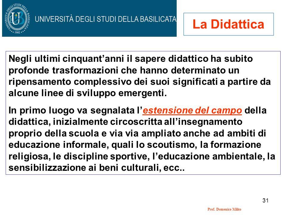 31 Prof. Domenico Milito La Didattica Negli ultimi cinquantanni il sapere didattico ha subito profonde trasformazioni che hanno determinato un ripensa