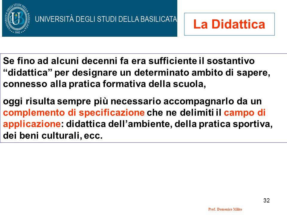 32 Prof. Domenico Milito La Didattica Se fino ad alcuni decenni fa era sufficiente il sostantivo didattica per designare un determinato ambito di sape