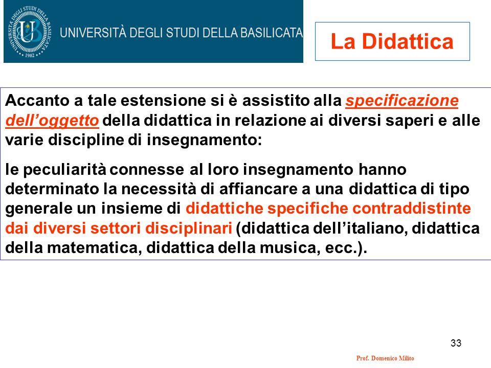 33 Prof. Domenico Milito La Didattica Accanto a tale estensione si è assistito alla specificazione delloggetto della didattica in relazione ai diversi