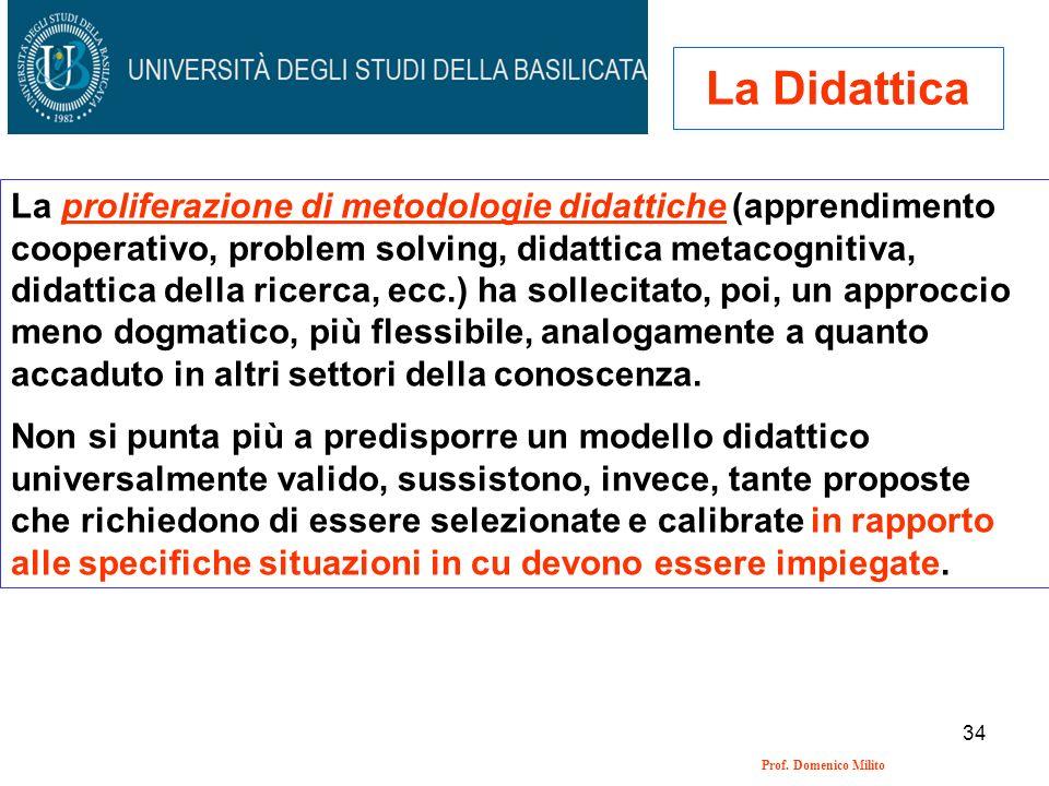 34 Prof. Domenico Milito La Didattica La proliferazione di metodologie didattiche (apprendimento cooperativo, problem solving, didattica metacognitiva