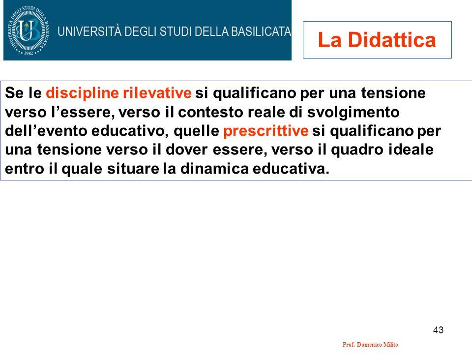 43 Prof. Domenico Milito La Didattica Se le discipline rilevative si qualificano per una tensione verso lessere, verso il contesto reale di svolgiment