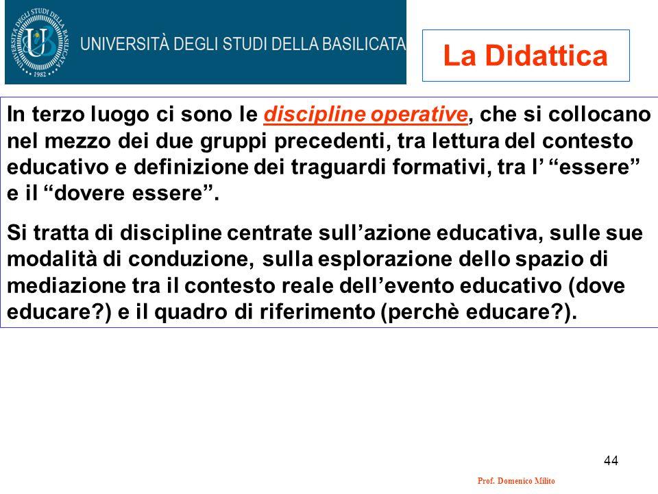 44 Prof. Domenico Milito La Didattica In terzo luogo ci sono le discipline operative, che si collocano nel mezzo dei due gruppi precedenti, tra lettur