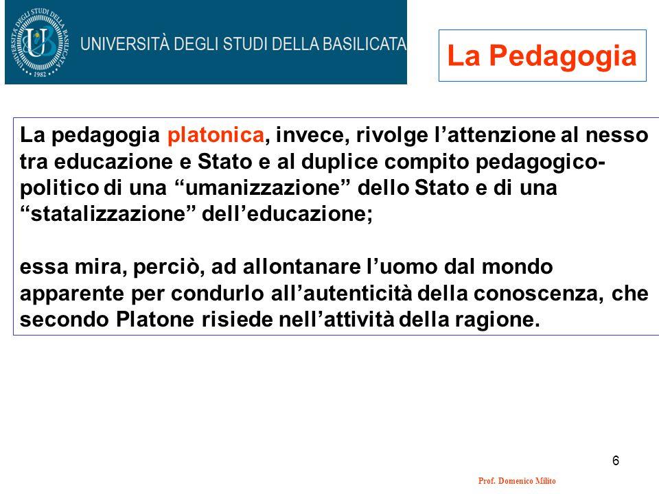 6 Prof. Domenico Milito La Pedagogia La pedagogia platonica, invece, rivolge lattenzione al nesso tra educazione e Stato e al duplice compito pedagogi