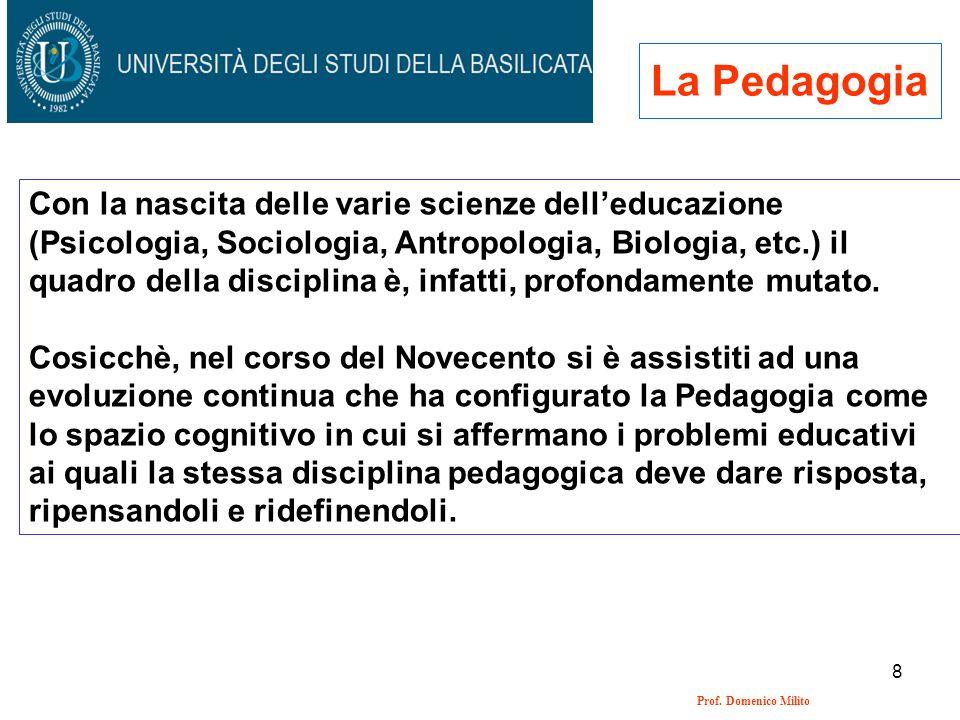 8 Prof. Domenico Milito La Pedagogia Con la nascita delle varie scienze delleducazione (Psicologia, Sociologia, Antropologia, Biologia, etc.) il quadr
