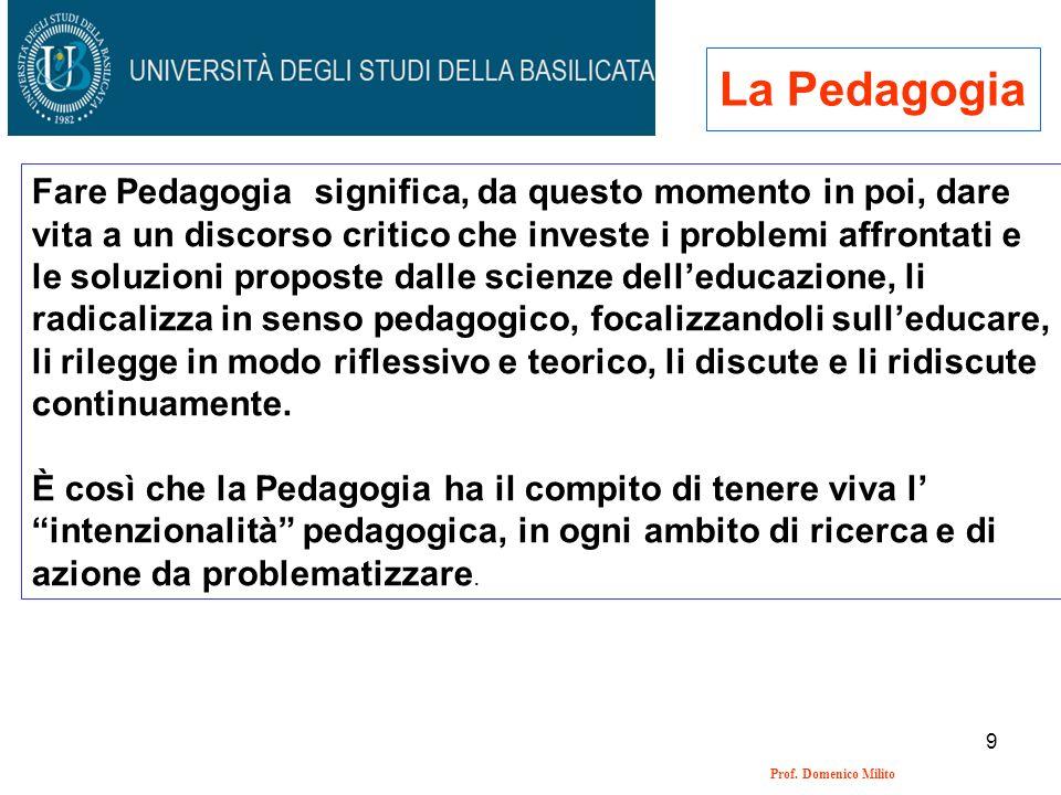 9 Prof. Domenico Milito La Pedagogia Fare Pedagogia significa, da questo momento in poi, dare vita a un discorso critico che investe i problemi affron