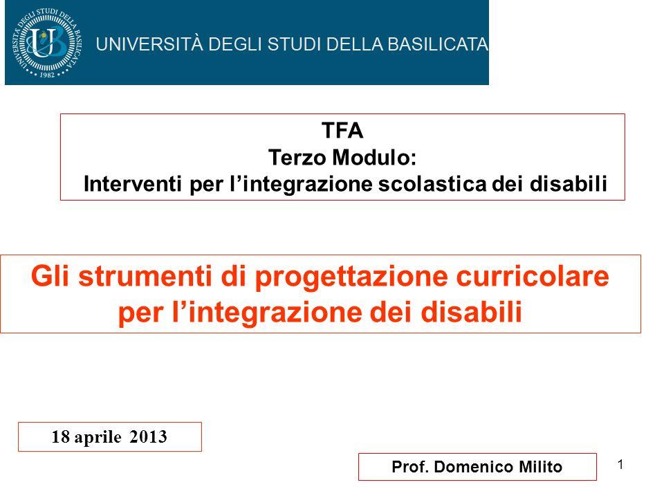 1 Prof. Domenico Milito Gli strumenti di progettazione curricolare per lintegrazione dei disabili 18 aprile 2013 TFA Terzo Modulo: Interventi per lint