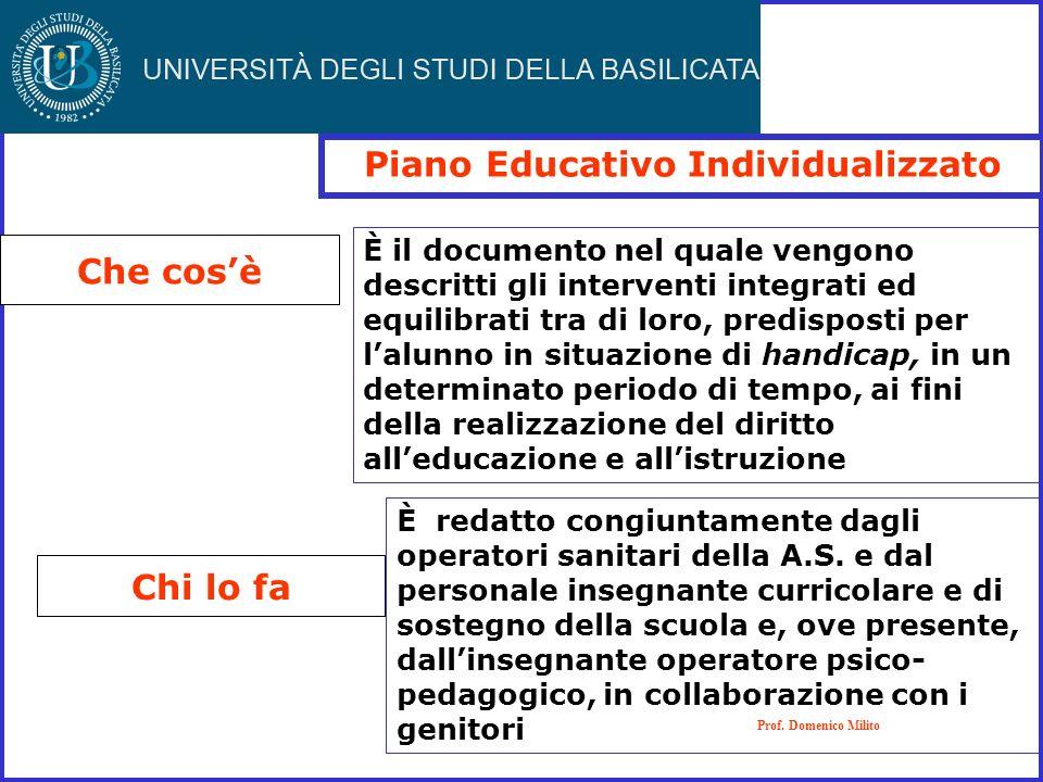 Piano Educativo Individualizzato Che cosè Chi lo fa Prof. Domenico Milito È redatto congiuntamente dagli operatori sanitari della A.S. e dal personale