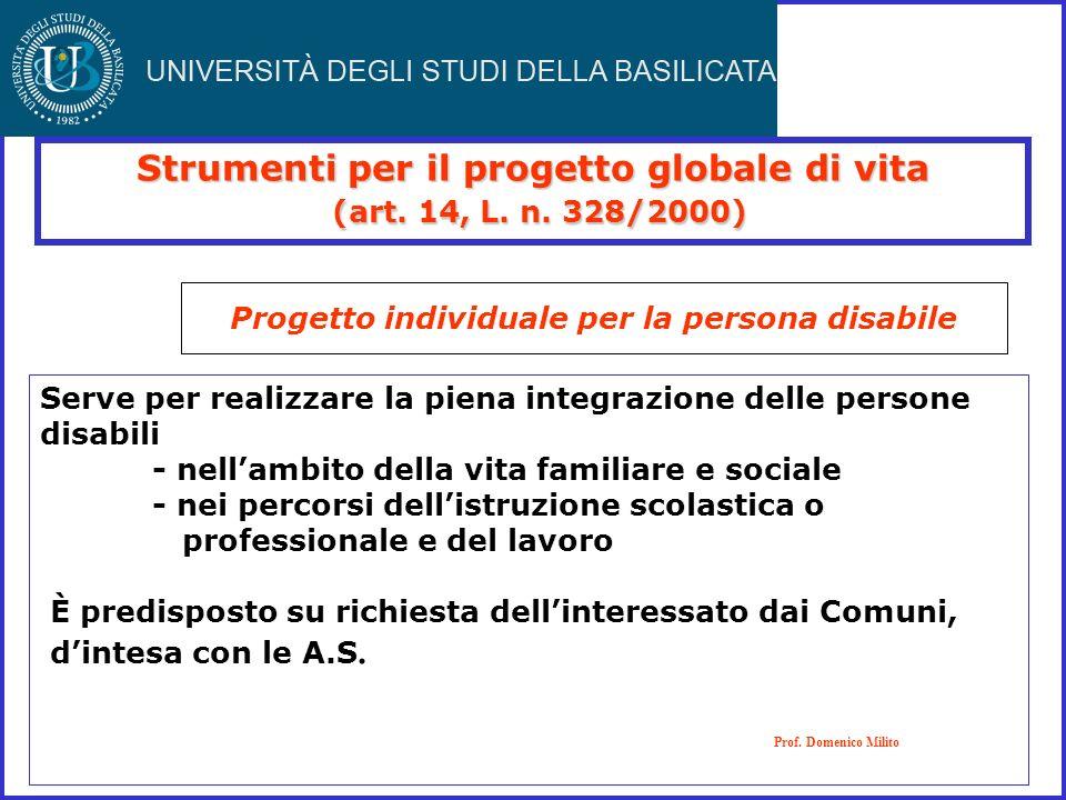 Strumenti per il progetto globale di vita (art. 14, L. n. 328/2000) (art. 14, L. n. 328/2000) Progetto individuale per la persona disabile Prof. Domen