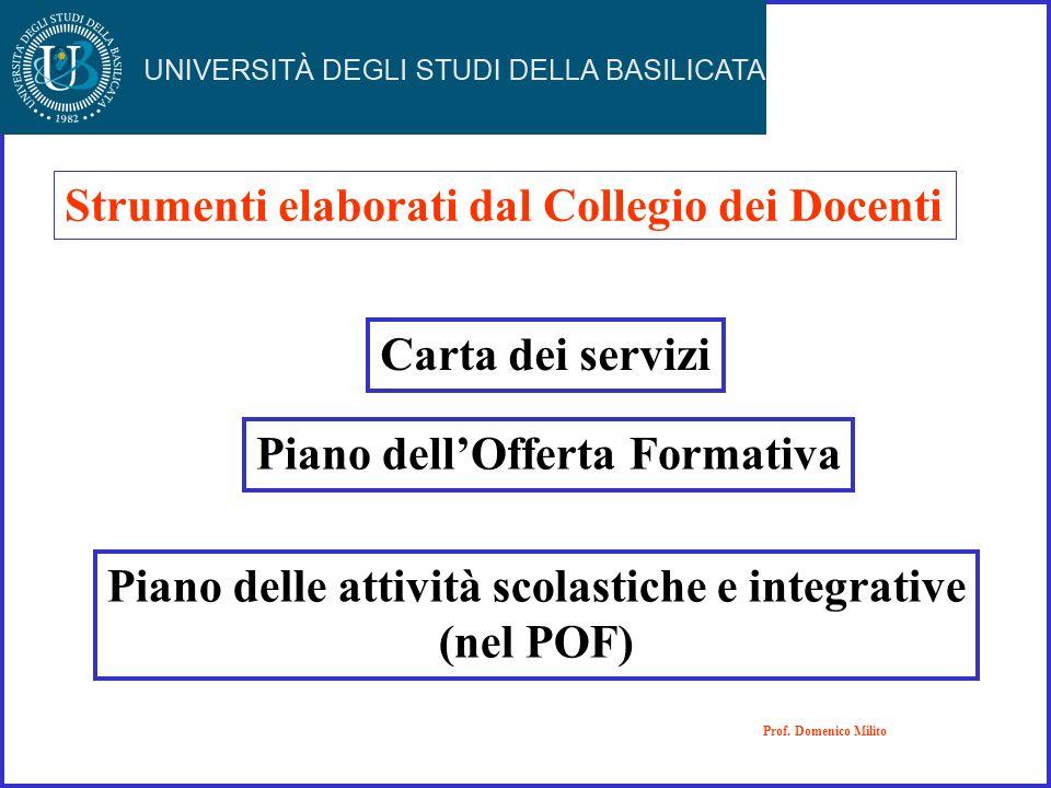 Carta dei servizi Piano dellOfferta Formativa Piano delle attività scolastiche e integrative (nel POF) Prof. Domenico Milito Strumenti elaborati dal C