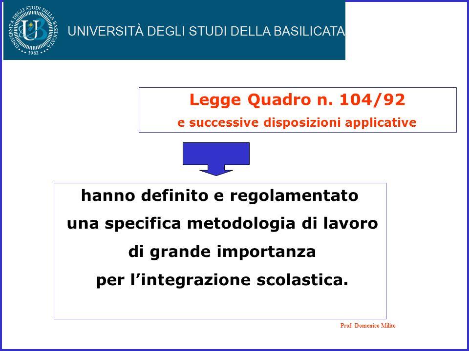 Legge Quadro n. 104/92 e successive disposizioni applicative Prof. Domenico Milito hanno definito e regolamentato una specifica metodologia di lavoro