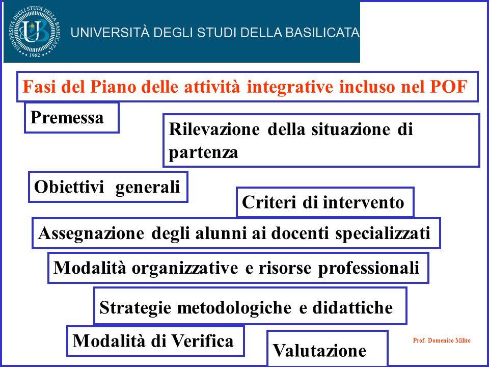 Fasi del Piano delle attività integrative incluso nel POF Premessa Rilevazione della situazione di partenza Criteri di intervento Modalità organizzati