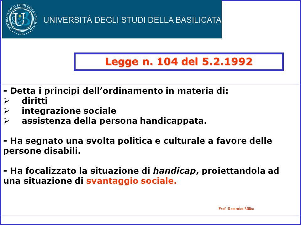 Legge n. 104 del 5.2.1992 Prof. Domenico Milito - Detta i principi dellordinamento in materia di: diritti integrazione sociale assistenza della person