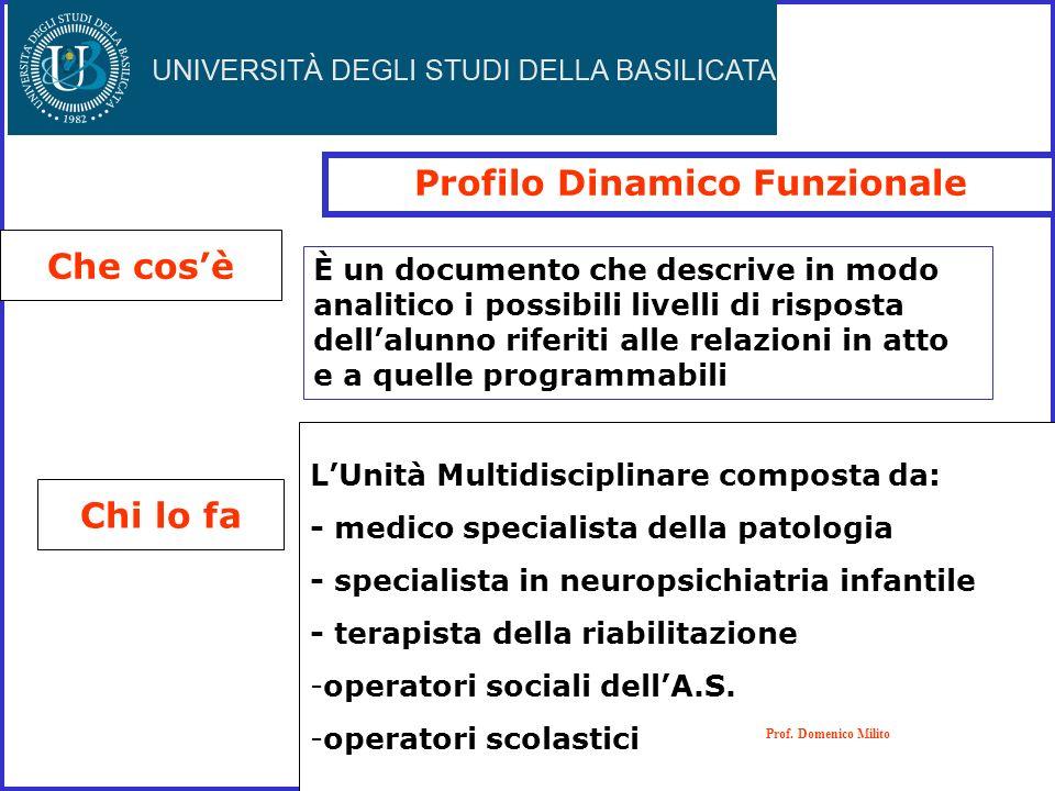 Profilo Dinamico Funzionale Che cosè Chi lo fa LUnità Multidisciplinare composta da: - medico specialista della patologia - specialista in neuropsichi