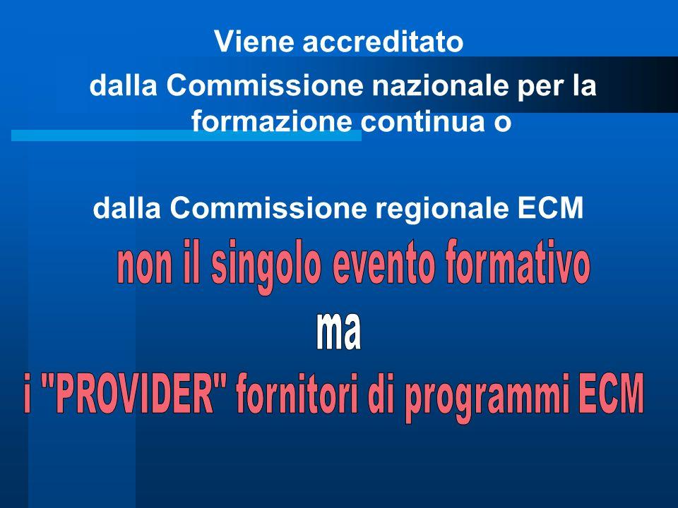 Viene accreditato dalla Commissione nazionale per la formazione continua o dalla Commissione regionale ECM