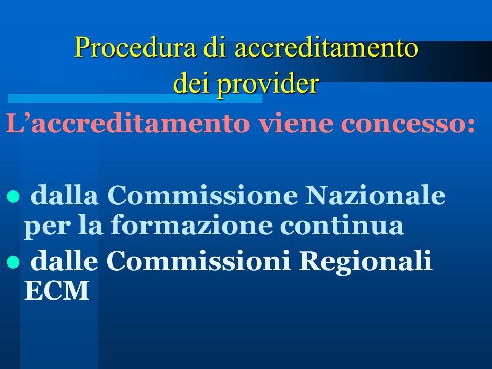Procedura di accreditamento dei provider Laccreditamento viene concesso: dalla Commissione Nazionale per la formazione continua dalle Commissioni Regi