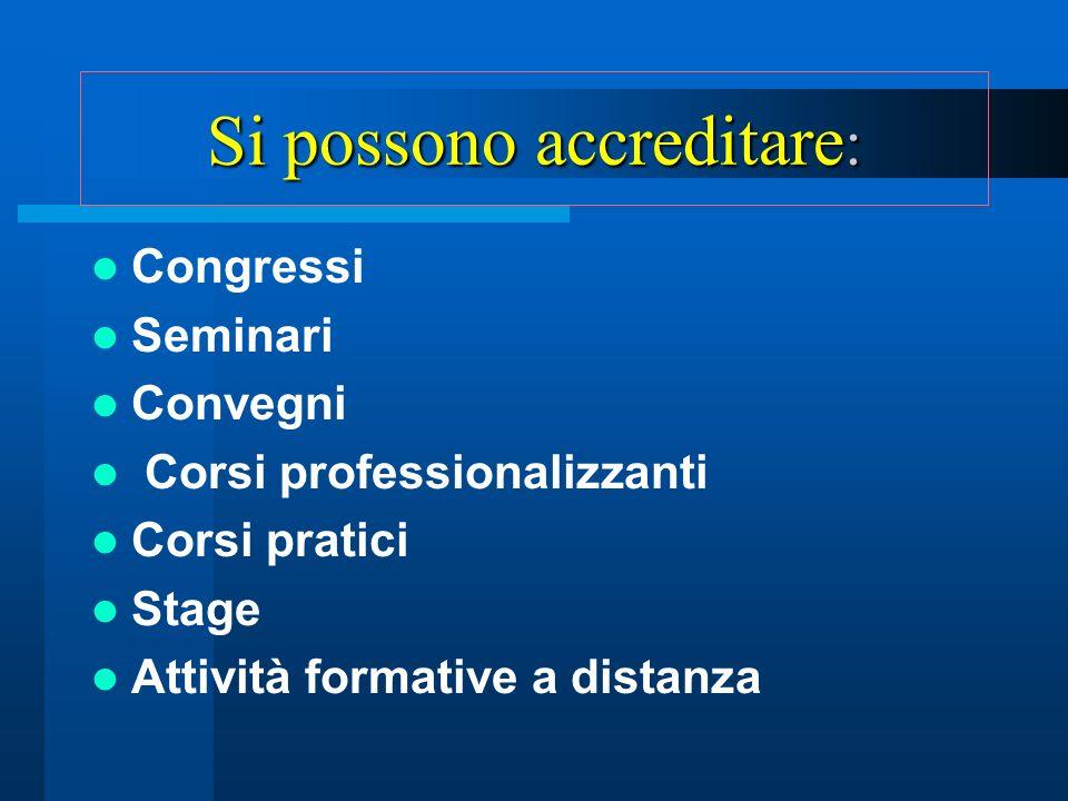 Si possono accreditare : Congressi Seminari Convegni Corsi professionalizzanti Corsi pratici Stage Attività formative a distanza