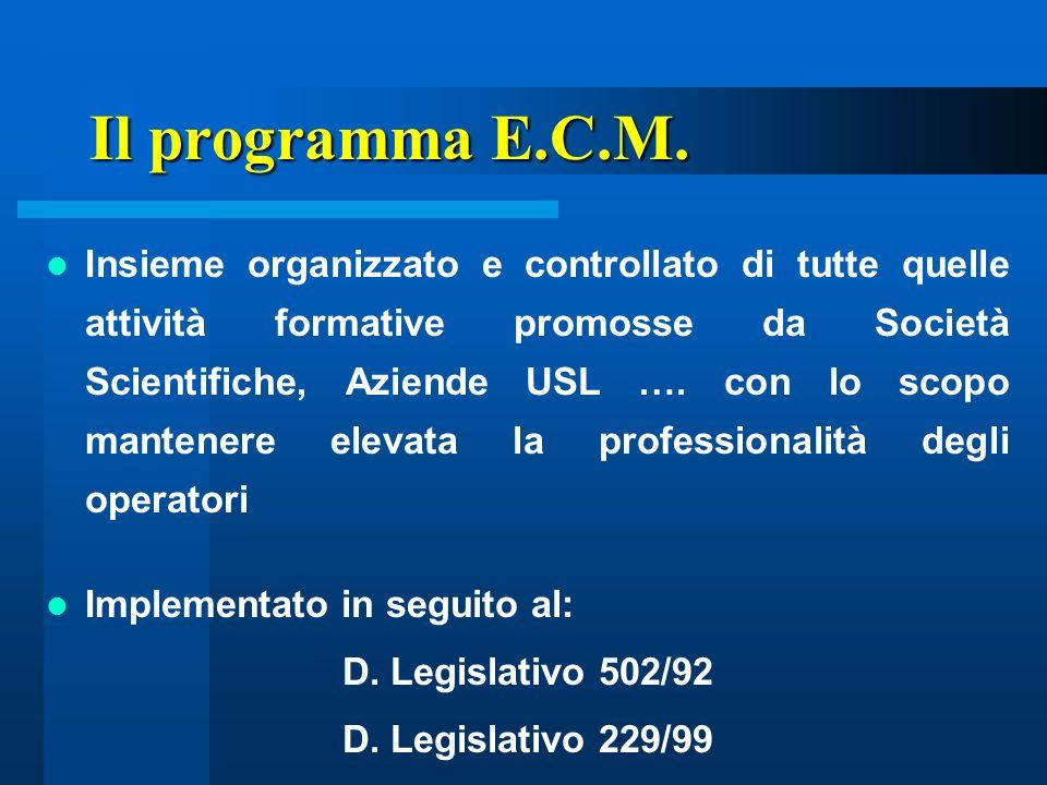 Il programma E.C.M. Insieme organizzato e controllato di tutte quelle attività formative promosse da Società Scientifiche, Aziende USL …. con lo scopo