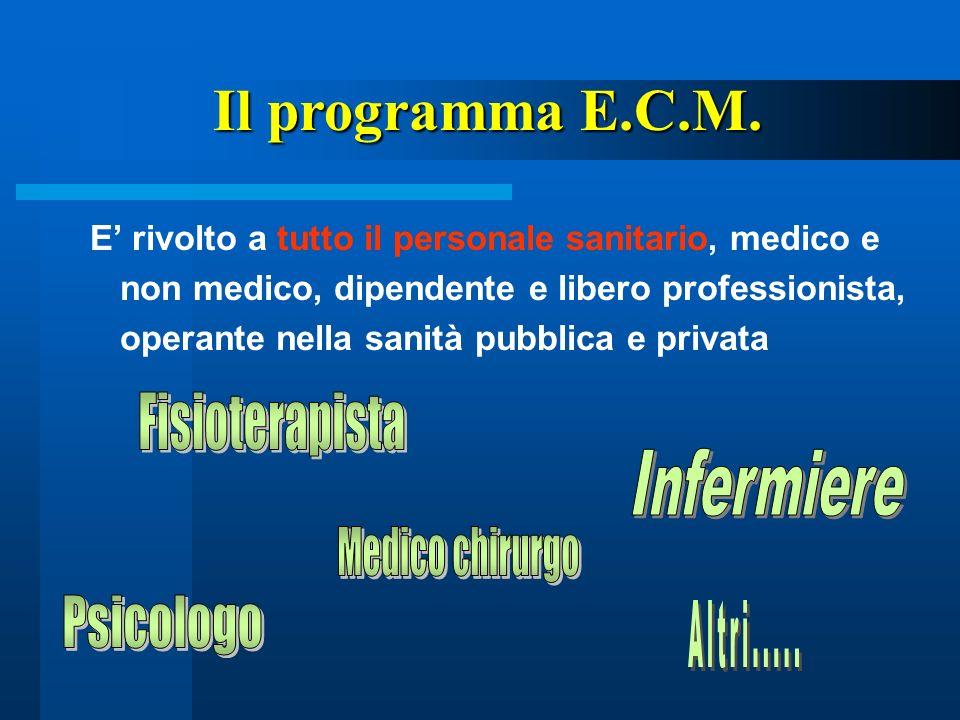E rivolto a tutto il personale sanitario, medico e non medico, dipendente e libero professionista, operante nella sanità pubblica e privata Il program
