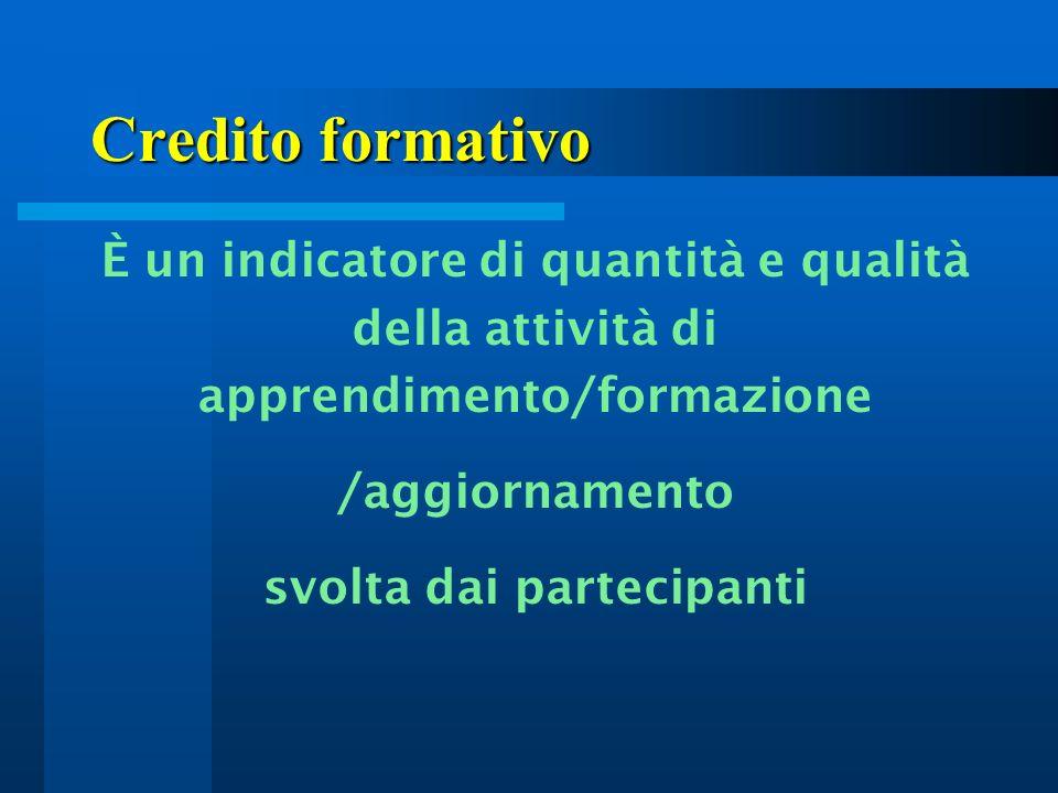 Credito formativo È un indicatore di quantità e qualità della attività di apprendimento/formazione /aggiornamento svolta dai partecipanti