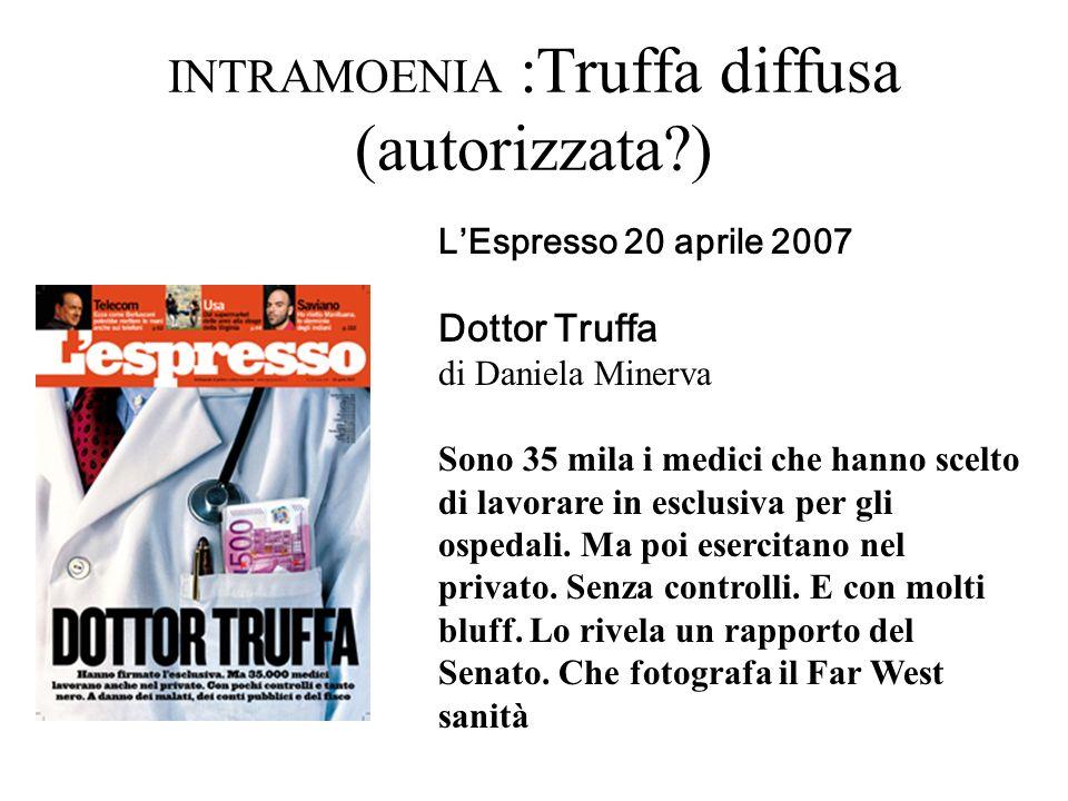 INTRAMOENIA :Truffa diffusa (autorizzata?) LEspresso 20 aprile 2007 Dottor Truffa di Daniela Minerva Sono 35 mila i medici che hanno scelto di lavorar