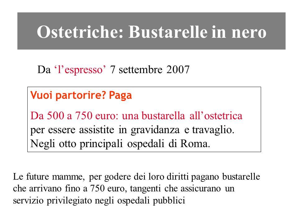 Ostetriche: Bustarelle in nero Da lespresso 7 settembre 2007 Vuoi partorire? Paga Da 500 a 750 euro: una bustarella allostetrica per essere assistite