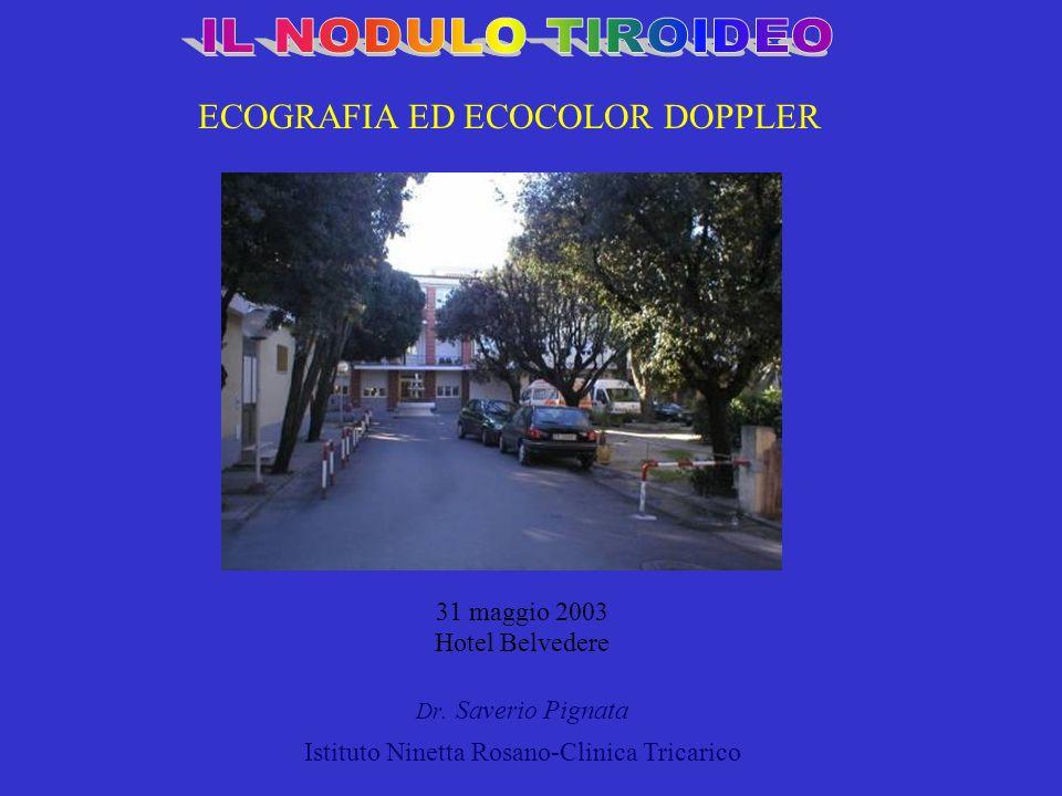 31 maggio 2003 Hotel Belvedere Dr. Saverio Pignata Istituto Ninetta Rosano-Clinica Tricarico ECOGRAFIA ED ECOCOLOR DOPPLER