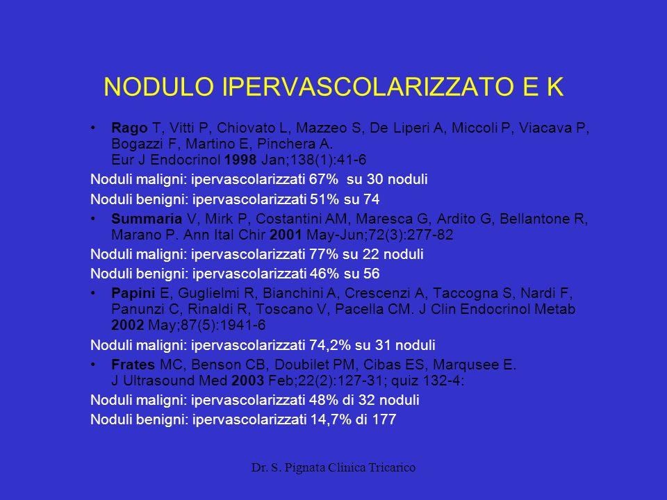 Dr. S. Pignata Clinica Tricarico NODULO IPERVASCOLARIZZATO E K Rago T, Vitti P, Chiovato L, Mazzeo S, De Liperi A, Miccoli P, Viacava P, Bogazzi F, Ma