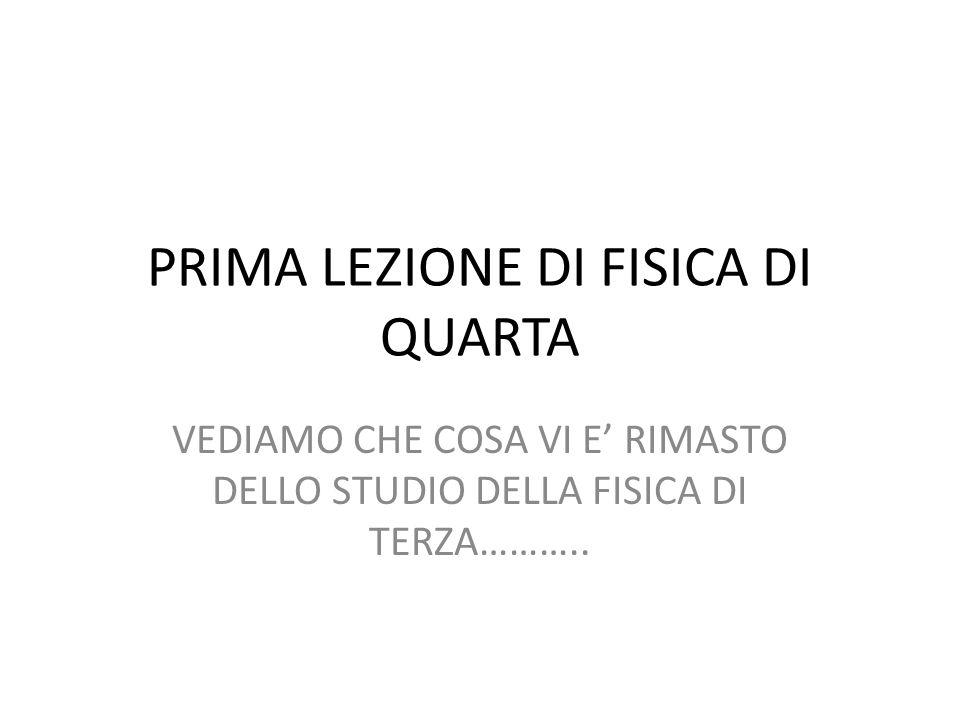 PRIMA LEZIONE DI FISICA DI QUARTA VEDIAMO CHE COSA VI E RIMASTO DELLO STUDIO DELLA FISICA DI TERZA………..