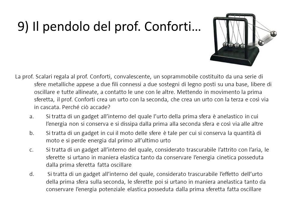 9) Il pendolo del prof. Conforti… La prof. Scalari regala al prof. Conforti, convalescente, un soprammobile costituito da una serie di sfere metallich