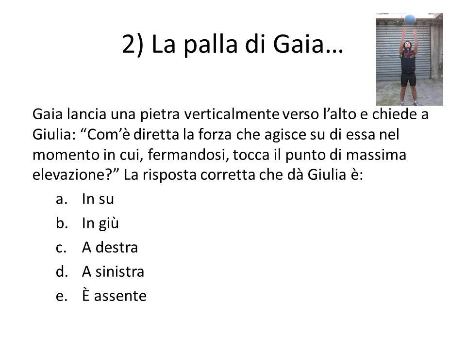 2) La palla di Gaia… Gaia lancia una pietra verticalmente verso lalto e chiede a Giulia: Comè diretta la forza che agisce su di essa nel momento in cu