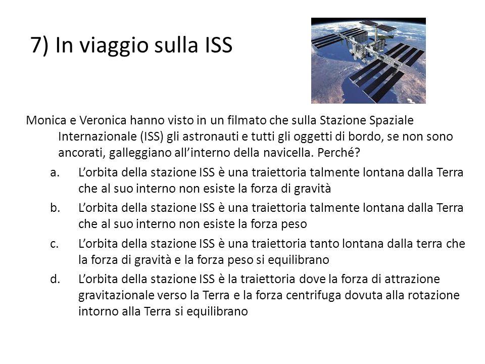 7) In viaggio sulla ISS Monica e Veronica hanno visto in un filmato che sulla Stazione Spaziale Internazionale (ISS) gli astronauti e tutti gli oggett